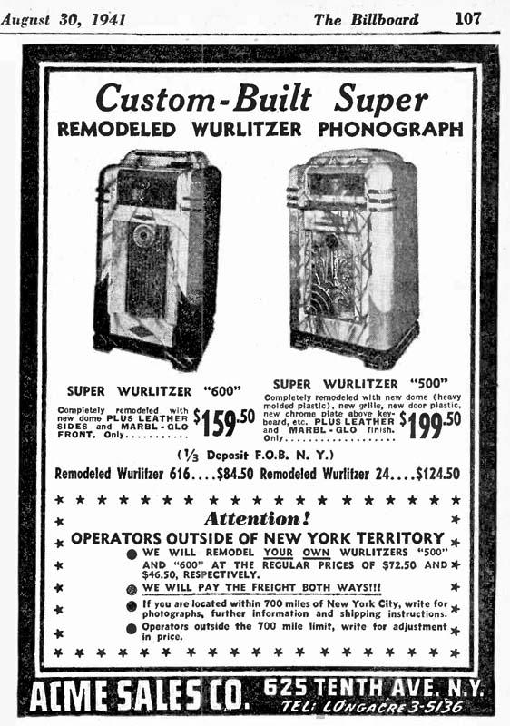 Wurlitzer 600 500 Acme sales Remodeled