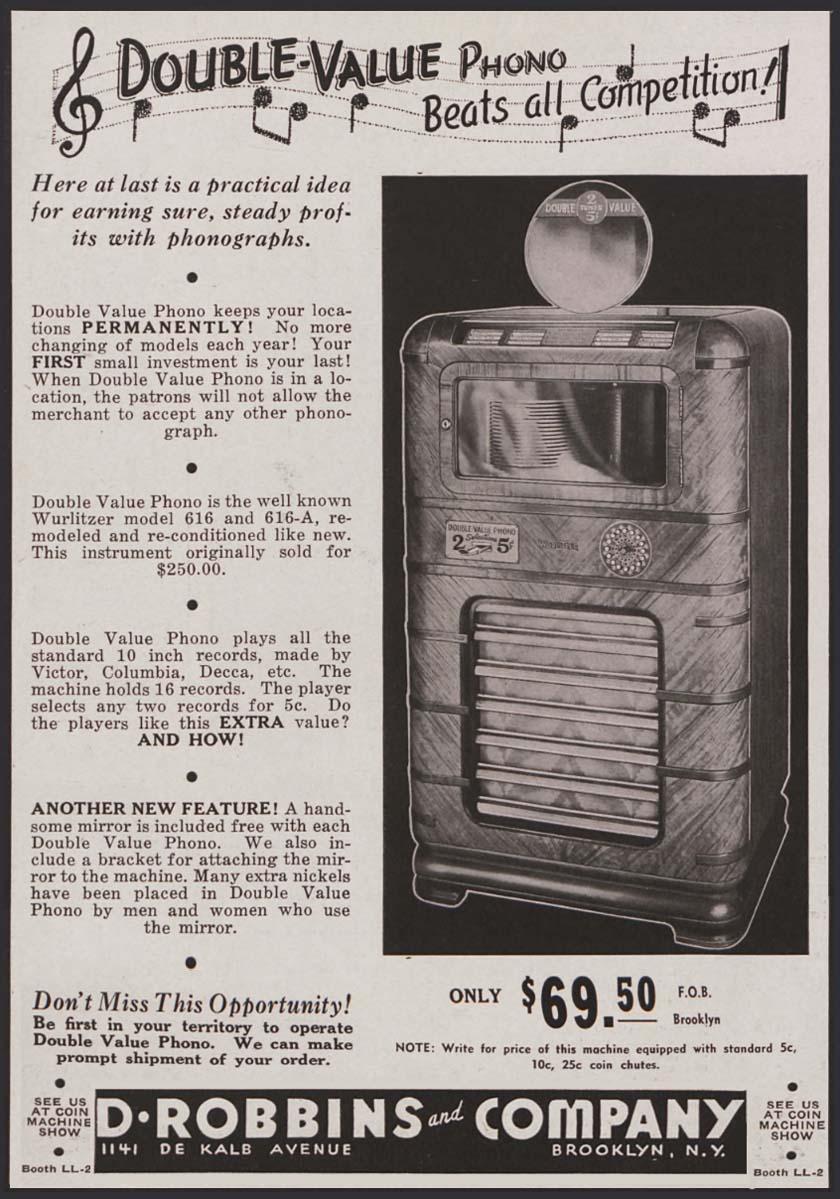 Double Phono D. Robbins & Co. Jukebox