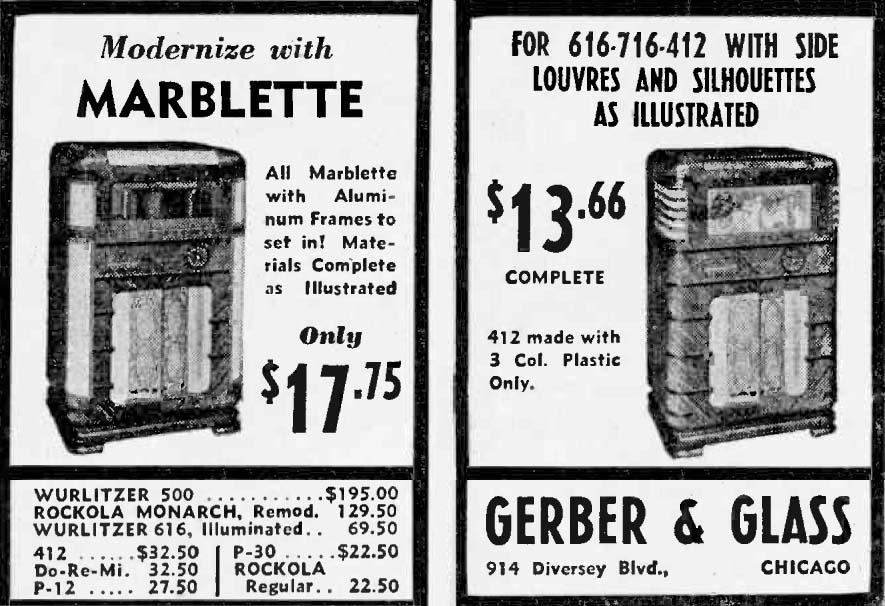 W500 Gerber & Glass Wurlitzer Musikbox Jukebox