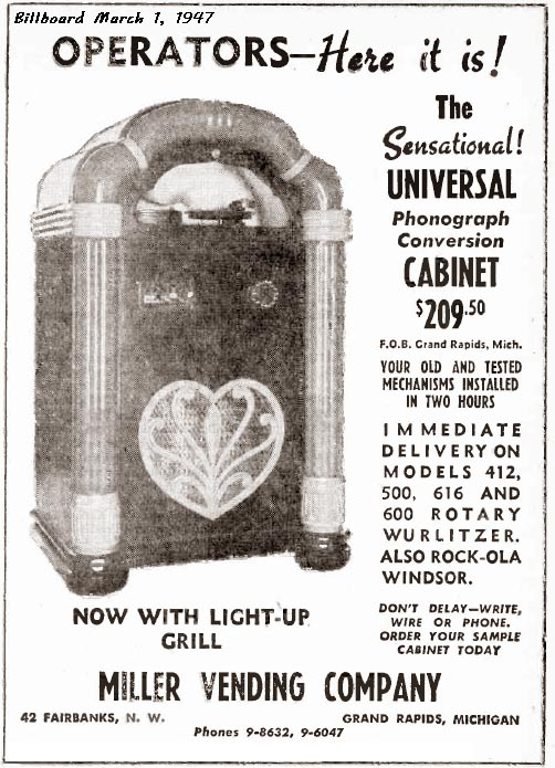 Universal Cabinet Miller Vending Company Phonograph Jukeboxes Light-Up Kit