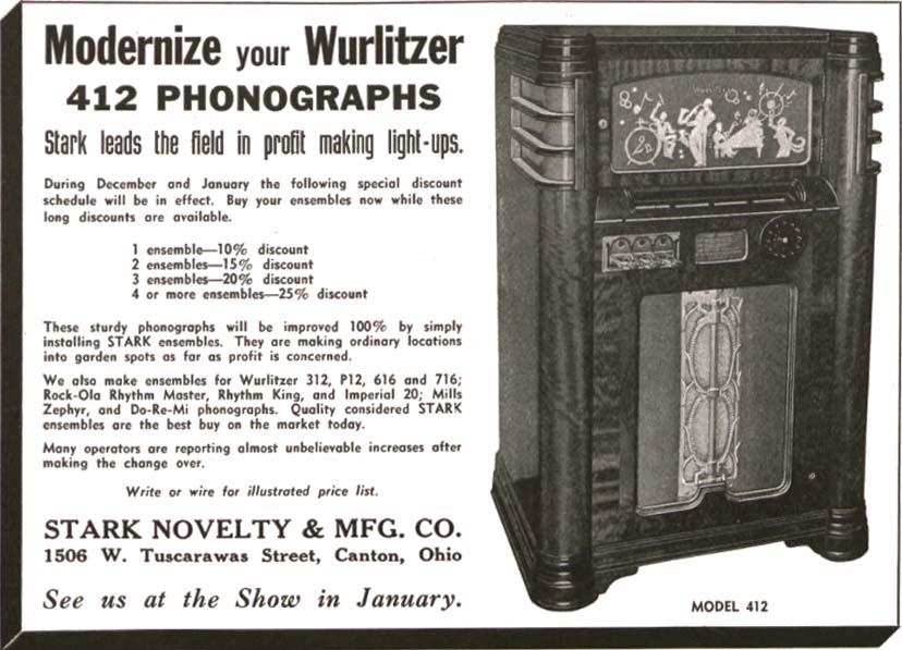 Stark Novelty Company Phonograph Jukeboxes Light-Up Kit
