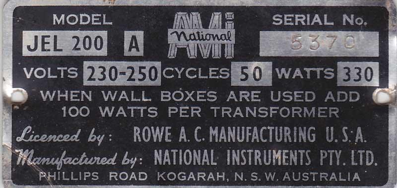 National Instruments PTY Australia AMI Rowe JEL200A