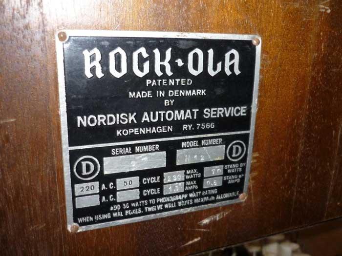 Nordisk Automat Service rock-ola Hideaway H12 Juke Box