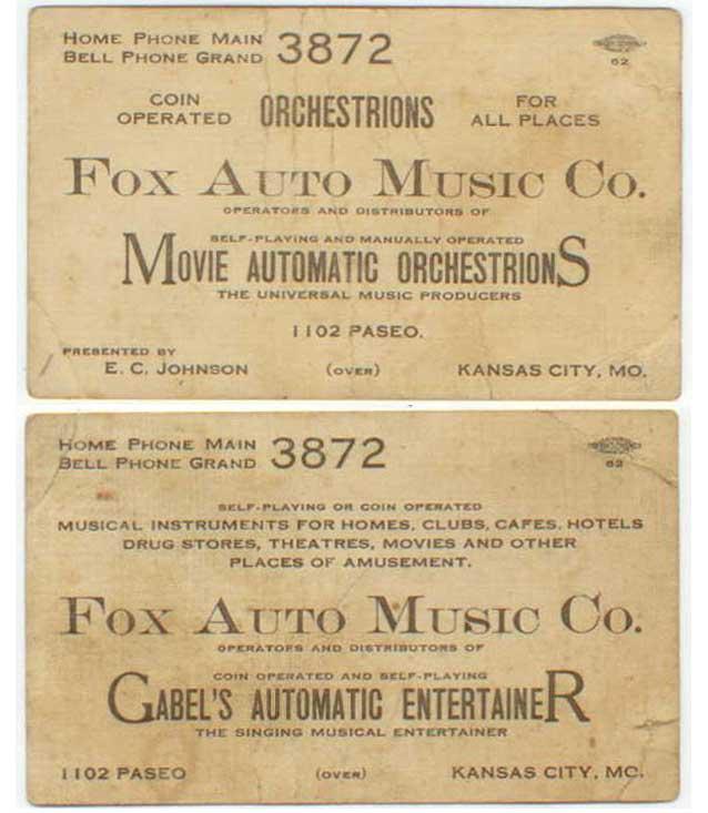 Gabel Business Card Disributor Missouri Kansas City Jukebox Musikbox