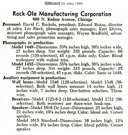 Rock-ola 1955/56:1448 1452 1721 1725-8-2 1548