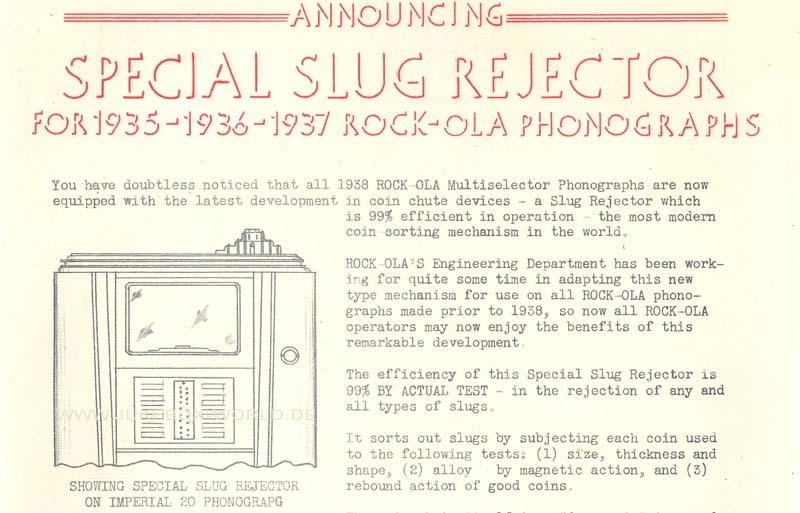 Rock-Ola Special Slug Rejector