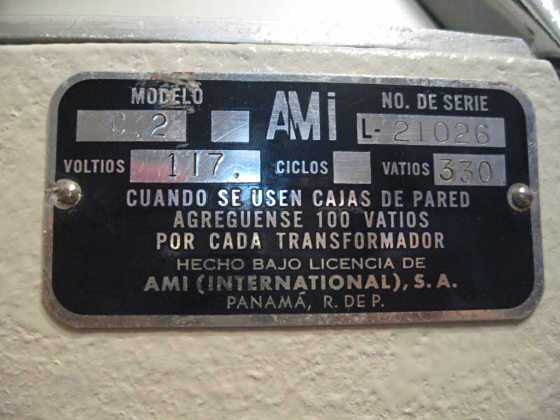 AMI C2 Continental Spanish ID plate