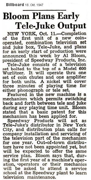 Wurlitzer 600 Tele Juke Speedway