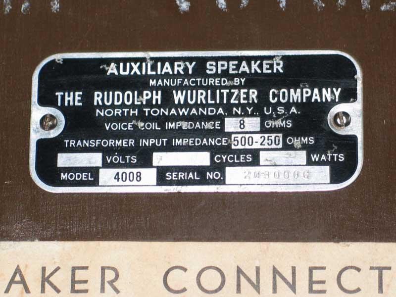 Wurlitzer 4008 - 4000 - 4004