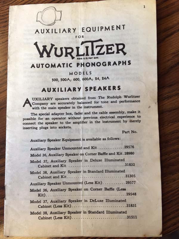 Wurlitzer Auxiliary Speakers 36, 37, 38