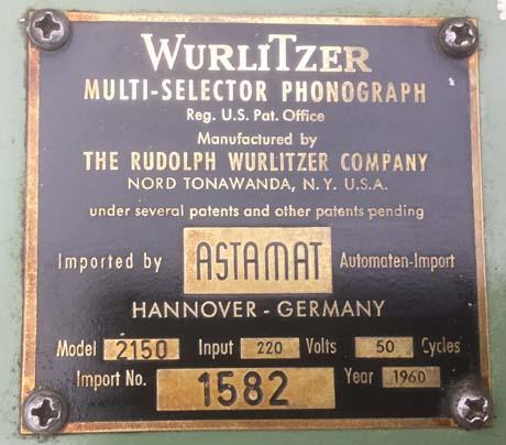 Wurlitzer 2150 Astamat