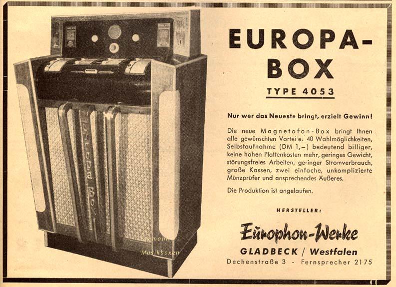 Europhon-Werke Europa Magnetophon Jukebox Musikbox