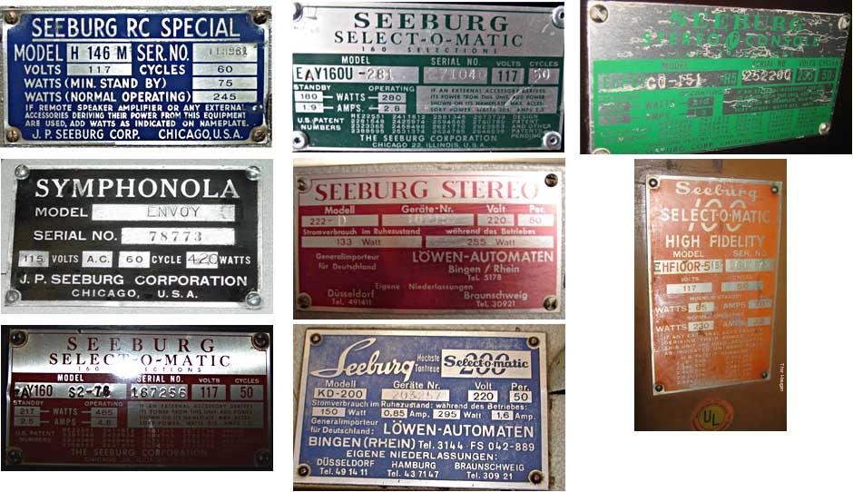 Seeburg Typenschild ID plate