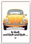 """Blechpostkarte """"VW - Er läuft und läuft und läuft ..."""""""