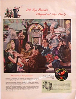 "Wurlitzer ad ""24 Top Bands Played At Her Party"""