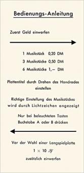 """Instruktionsschild """"Bedienungs-Anleitung"""""""