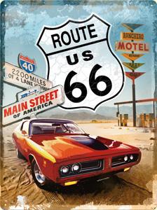 "Blechschild ""Route 66 - Red Car"""