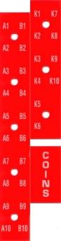 Buchstaben- und Zahlenstreifen, rot