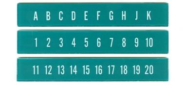 Buchstaben- u. Zahlenstreifen, türkis