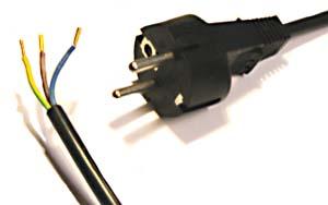Power cord, 230 Volt, straight plug