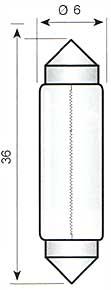 Festoon lamp S8,5 - 6V/3W