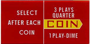 """Instruction glass """"Coins ... 3 Plays"""""""