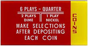 "Instruktionsglas ""Coins ... 6 Plays"""