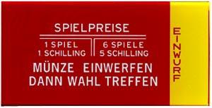 """Instruction glass """"Münze einwerfen"""", Austrian"""