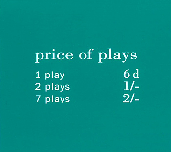 """Pricing card """"price of plays"""", GB, turquoise"""