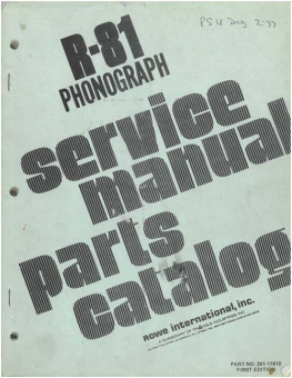 Service Manual Rowe/AMI R-81