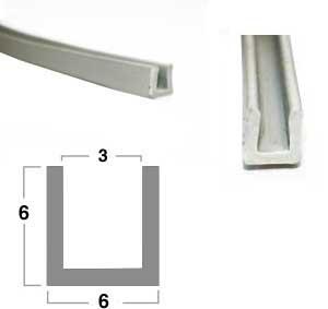 Gummi-U-Profil 3 x 6 x 6 - grau