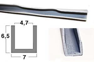 Gummi-U-Profil 4,7 x 7 x 6,5 - grau