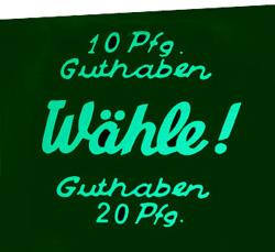 """Coin glass """"10 Pfg. Guthaben ..."""""""