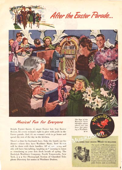 "Wurlitzer ad ""After the Easter Parade"""
