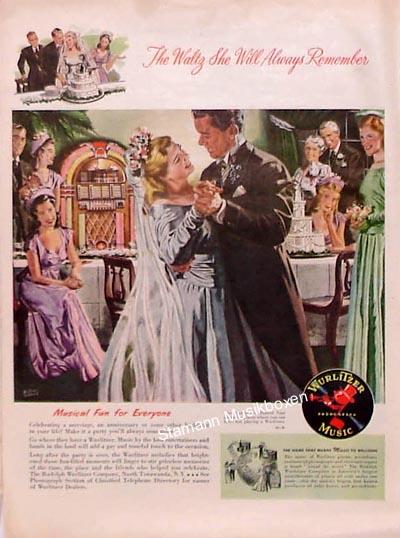 """Wurlitzer Werbung """"The Waltz She Will Always Remember"""""""
