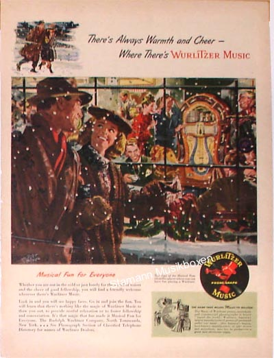 """Wurlitzer ad """"There's Always Warmth and Cheer - Where There's Wurlitzer Music"""""""