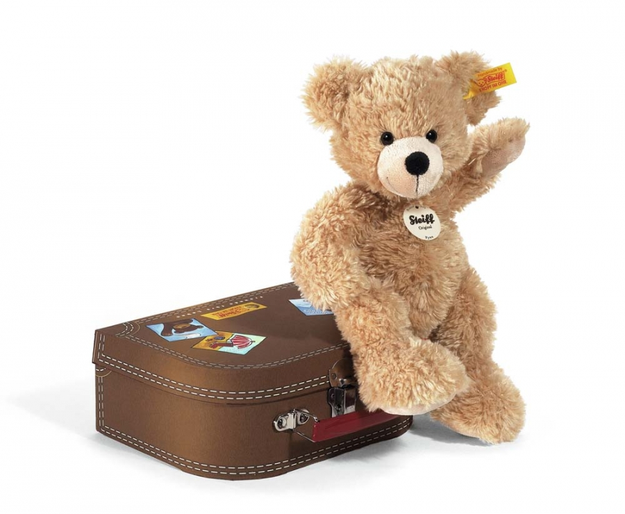 Fynn Teddy Bear with brown suitcase