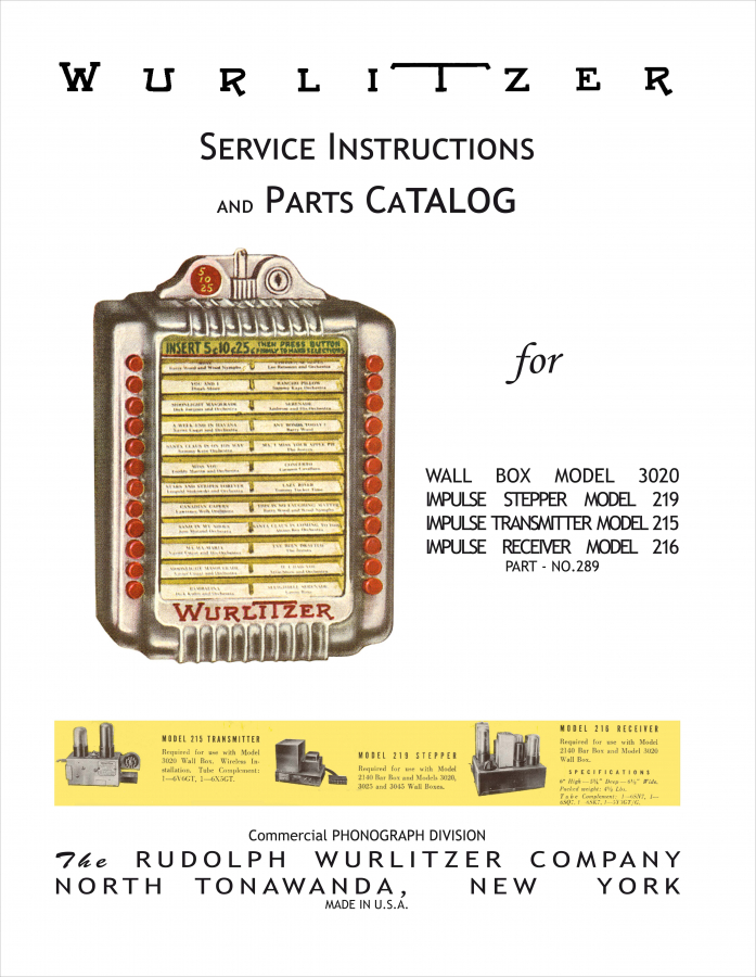 Service Instructions and Parts Catalog Wurlitzer 3020