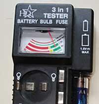 Fuse, battery & bulb tester