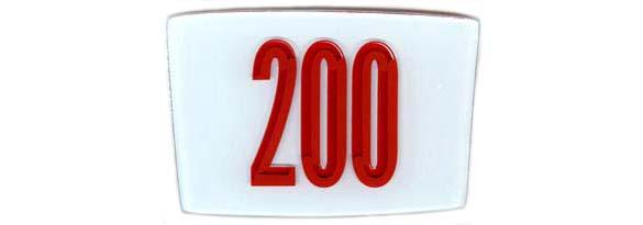 "Glass emblem ""200"""