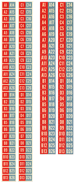 Aufkleber Popularitätszähler u. Plattenringe rot/türkis