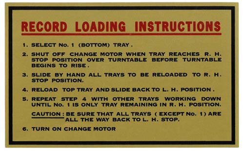 "Aufkleber ""Record Loading Instructions"""
