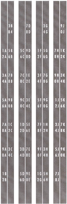 Title strip holder decal set, 1A - 0K