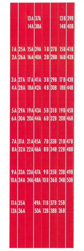 Title strip holder decal set 1A - 50B, red
