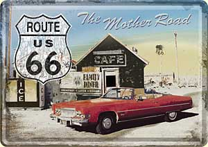 """Blechpostkarte """"Route 66 - The Mother Road"""""""