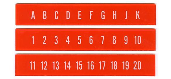 Buchstaben- u. Zahlenstreifen, orange