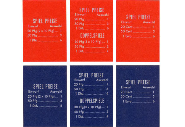 Pricing card, German