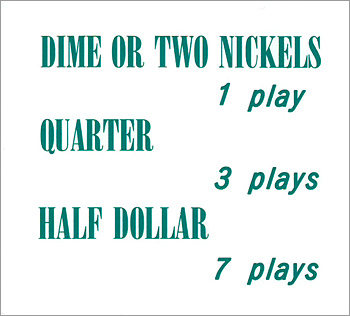 """Pricing card  """"DIME OR TWO NICKELS ..."""", turquoise"""