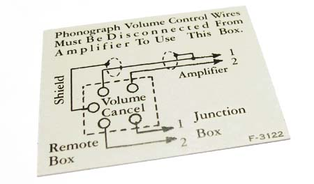 Decal for H-338 volume control