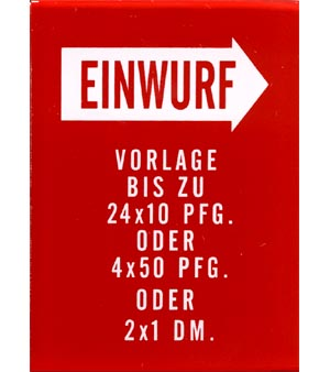 "Instruktionsglas ""Einwurf ..."", 201"